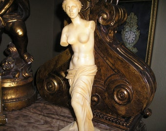 Vintage Stunning Sensuous Timeless Sculpture Statue of Venus the Milo Goddess of Love A Santini Lg Alabaster Statue