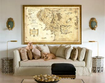 Lord Of The Rings, The Hobbit, Gift For Him, Gift For Boyfriend, Lord Of The Rings Poster, Middle Earth Map, Lord Of The Rings Map