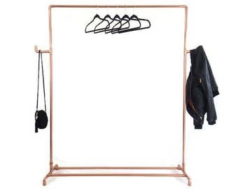 Copper Pipe Copper Clothing Rack Clothes Rail With Side Bars Hooks Made To Order
