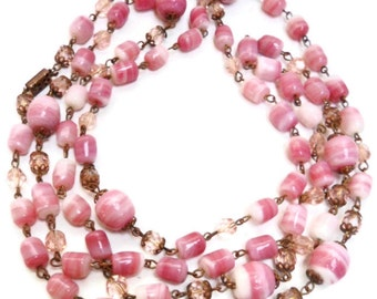 Art Deco Hand Wired Pink Crystal Pink & white Swirl  Glass Flapper Necklace