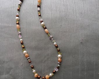 Earth Tone Beaded Cross Necklace