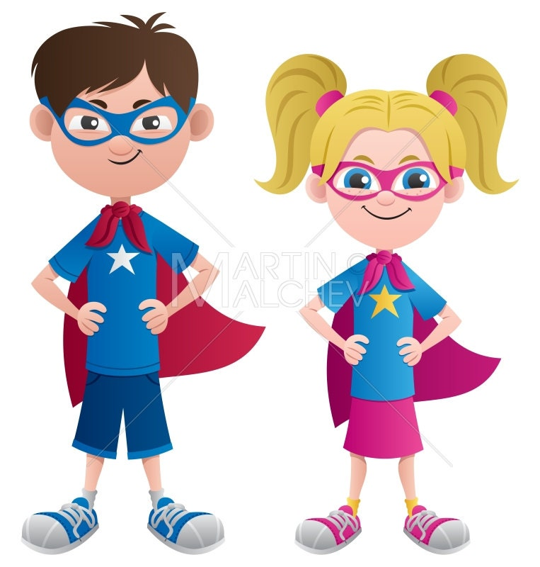 Super Kids - Vector Cartoon Illustration. superhero, superman, super ...
