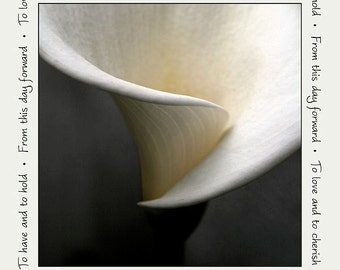 Personalized wedding photograph, anniversary home decor, calla lily print, gift 20 and under, 8x8-inch fine art flower photo