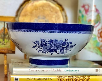 """Copeland Spode Blue Fitzhugh Large Footed  Salad Bowl in Excellent Condition, Vintage Spode Fitzhugh Bowl, Collectible Spode, 10"""""""
