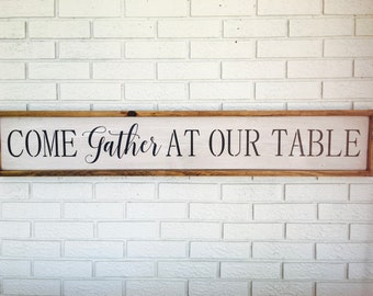 Come Gather At Our Table Framed Art Family Gathering Wall Decor