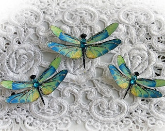 Reneabouquets Mystic Topaz Dragonfly Set  Scrapbook Embellishment, Tag, Card, Mini Album, Wedding, Dragonflies