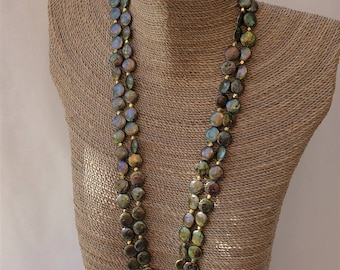 Green Gold Baroque Coin Pearl Necklace