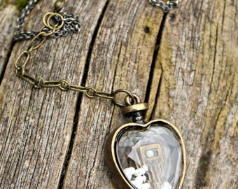 Brass and Glass Heart Locket with Key on 26 inch Brass Chain