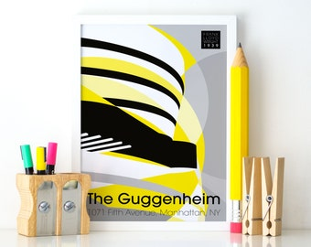 The Guggenheim Museum - A4 Poster Design, Futurist Style, Abstract Architecture