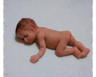 Ooak polymer clay Tiny Miniature  sculpt great for collector of art dolls house babies fairies. cake topper or christening or baby showerl