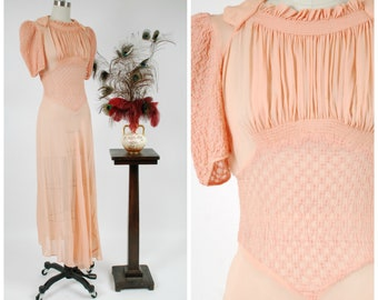 Vintage 1930s Dress - Summer 2018 Lookbook- Sheer Silk Chiffon 30s Gown with Gathered Bust and and Puffed Sleeves in Peach