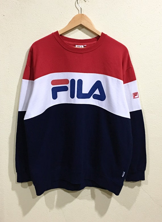 Asap Pullover Embroidery Sweatshirt 90's Rocky Fila Logo Swag Spellout Big Rare Multicolors Large Hip Hop Vintage qSw7RxF