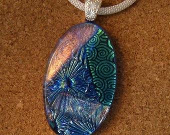Blue Dichroic Pendant - Fused Glass Pendant - Dichroic Necklace - Dichroic Jewelry - Fused Glass Jewelry - Glass Necklace - Glass Pendant