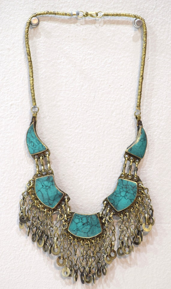 """Necklace Middle Eastern Turquoise Stone Necklace 24"""""""
