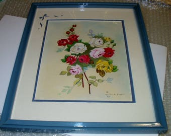 Cabbage Roses 1992 Watercolor Artist Keith A Biggs Picture Blue Frame and Matted Wall Art Hanging