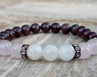 Fertility Bracelet, Moonstone, Rose Quartz, Garnet, Pregnancy Bracelet, Intention Bracelet, Fertility Crystals, Reiki, Fertility Wish