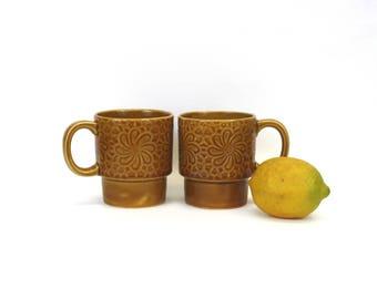 Vintage Tan Embossed Mod Floral Stacking Mugs, Set of 2 (E9445)