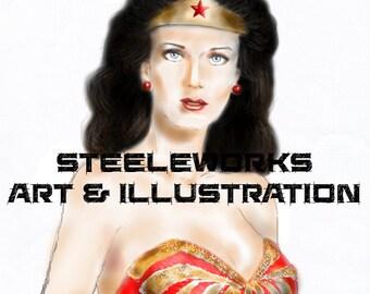 DC Comics Wonder Woman Lynda Carter Fan Art Photo Print