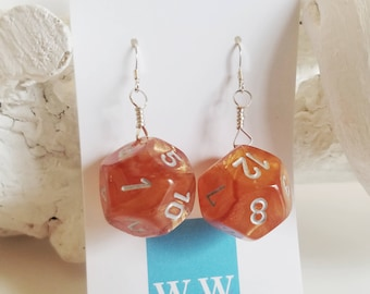 READY TO SHIP D12 Twelve Sided Dice Earrings - Translucent Orange with Silver Numbers - Geeky Gamer Jewelry