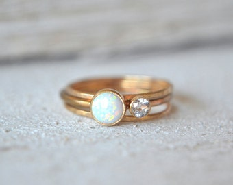 Set Of Three Opal Ring-  Opal Stacking Ring, Gold Opal Ring, Dainty Opal Ring, Opal Gemstone Ring, Opal Ring Gold, Stacking Ring Dainty Ring