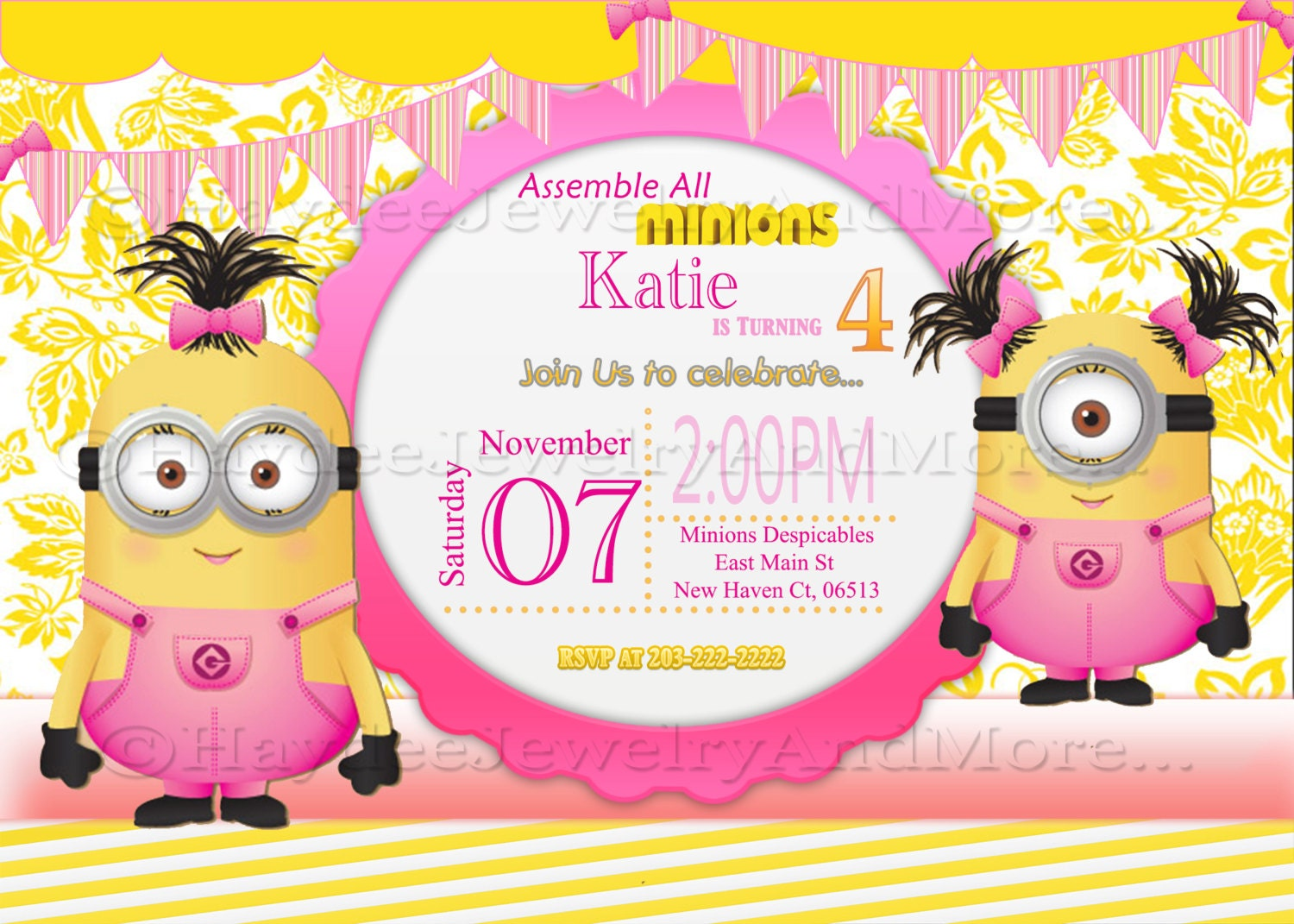 Minions girls birthday card invitation minions theme birthday zoom filmwisefo