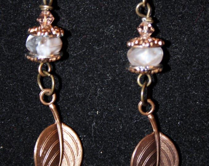 Dark Brass and Copper Leaf Dangle Earrings with Crystal Bead