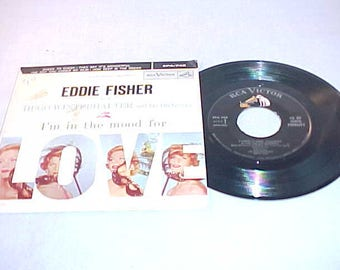 Eddie Fisher - EP 45 Vinyl Record and Carboard Picture Sleeve - I'm In The Mood For Love