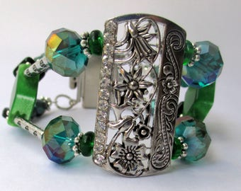 China,  cuff bracelet,teal crystals, rhinestones, silver, layered,  geometric, handmade, contemporary,textured, ,sculptural,
