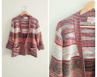 Vintage 1970s 70s Colorful Pink Acrylic Knit Cardigan Sweater Jacket Aztec Southwestern Big Labowski
