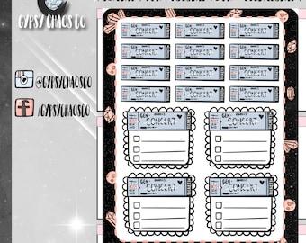 Concert Ticket / Concert Checklist - Hand-Drawn Planner Stickers (GC174)