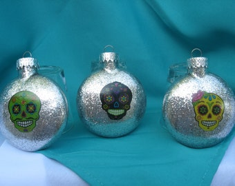 Sugar skull ornaments set of 3