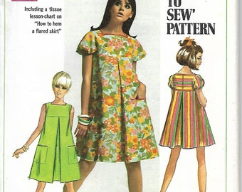 Simplicity 7461 Misses Tent Dress Sewing Pattern, Mini Dress And Regular Length, Size 12, Bust 34, UNCUT