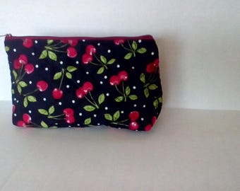 Black Cherry Quilted Zipper Pouch