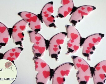 Edible butterflies, 24 pink hearts edible butterflies for cake decorating, cupcake toppers, cake pops. Anniversary cake topper or Valentines