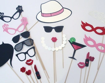 Photo Booth Props - Set of 30 Fun and Flirty Bachelorette Photobooth Party