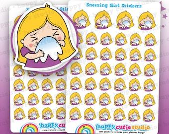 40 Cute Sneezing/Sick/Poorly/Hayfever/Allergies Girl Planner Stickers, Filofax, Erin Condren, Happy Planner,  Kawaii, Cute Sticker, UK