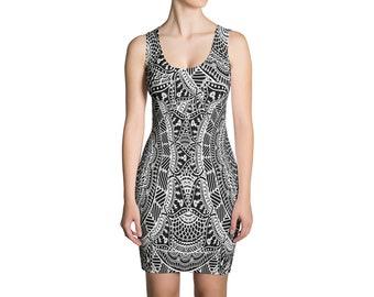 Boho Mandala Dress   Mandala Dress Boho Dress Geometric Dress Tribal Dress Grunge Dress Festival Dress Hippie Dress Black & White Dress Rave