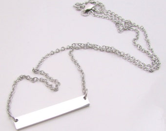 Stainless Steel Bar Necklace, Hand Stamping Blank, Finished Bar Necklace, Blank Name Plate Necklace, 32x5mm, Bar Necklace Blank (140)