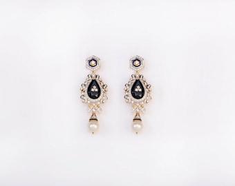 Aurus Diamond & Black Onyx 14K Gold Chandelier Earrings for Women