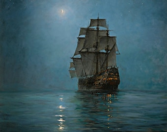 The Crescent Moon Painting by Montague Dawson Art Reproduction