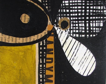 mid century modern collage mixed media on cradled wood panel pen ink acrylic black white gold organic forms