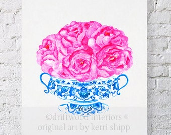 "Blue and White China Vase with Pink Roses - ""Bouquet in Flow Blue"" Watercolor Print 8x10 - Ginger Jar Print - Chinoiserie Art Print"