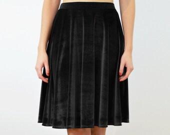 SPECIAL EDITION Black Velvet/Velour Jersey High Waisted Skater Skirt. Dress Up/Party/Going Out Skirt Midi Knee Length Floaty Circle Skirt