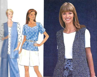 Simplicity 9579 Misses Separates Sewing Pattern, Vest, Pullover Top And Split Skirt Or Shorts, 6-16, UNCUT