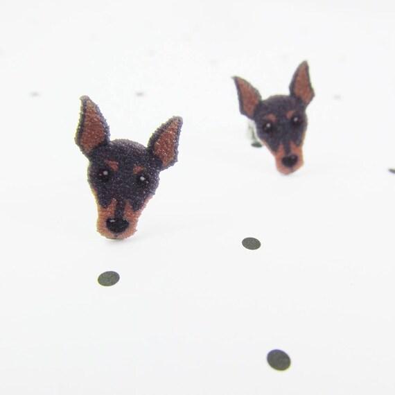 Miniature Pinscher, earring, pinscher dog stud, black, brown, dog,  hypoallergenic, plastic, stainless stud, handmade, les perles rares