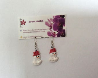 earring type polymer clay snowman snow