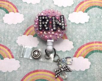 RN Monogram Letter Super Bling Kawaii Registered Nurse Dangle Angel Beaded Charm Retractable ID Badge Work Cute Fairy Kei Kawaii Clip