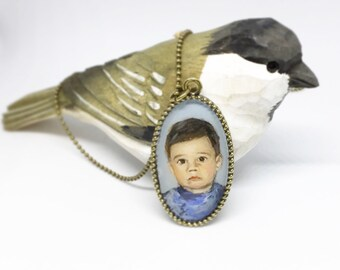 Custom portrait necklace personalized cameo pendant hand painted