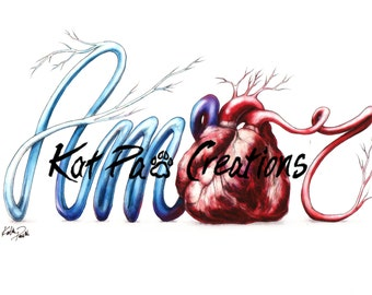 """Amor Love, Heart Illustration, Fine Art Print, 8.5""""x11"""", Anatomy Wall Art, Unique Medical, French Foreign Language Doctors Nurses red blue"""
