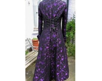 purple and black lace underbust coat full length steampunk coat burlesque vampire goth coat